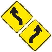 Reflective Warning Signs - Reverse Curve (Symbol)