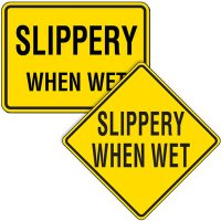 Reflective Warning Signs - Slippery When Wet