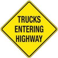 Reflective Warning Signs - Trucks Entering Highway