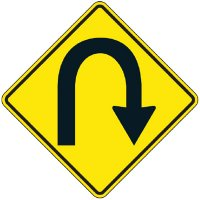 Reflective Warning Signs - U-Turn (Symbol)