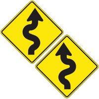 Reflective Warning Signs - Winding Road (Symbol)