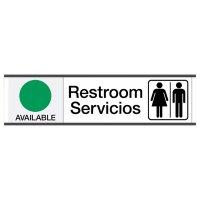 Restroom Available/In Use - Bilingual Engraved Restroom Sliders