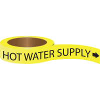 Roll Form Self-Adhesive Pipe Markers - Hot Water Supply