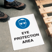 Safety Floor Signs- Eye Protection Area (With Graphic)