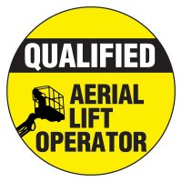Safety Hard Hat Labels - Qualified Aerial Lift Operator