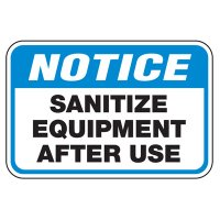 Sanitize Equipment After Use - Athletic Facilities Signs