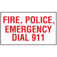 Adhesive Vinyl Fire Exit Signs - Fire@ Police@ Emergency Dial 911