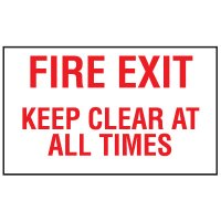 Adhesive Vinyl Fire Exit Signs - Fire Exit Keep Clear At All Times