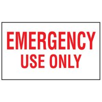 Adhesive Vinyl Fire Exit Signs - Emergency Use Only