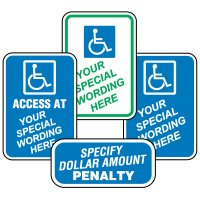 Semi-Custom Worded Signs - Handicap Signs