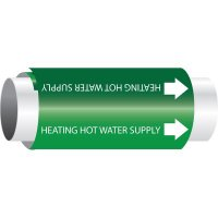 Setmark® Snap-Around Pipe Markers - Heating Hot Water Supply