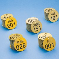 Stock Abbreviated-Wording Brass Valve Tags