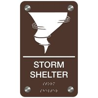 Storm Shelter W/ Tornado Cloud - Premium ADA Facility Signs