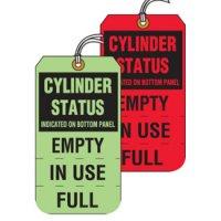 Tear-Off Jumbo Cylinder Status Tags Round Bottom