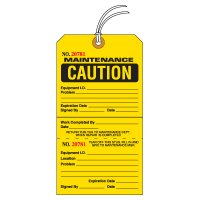 Tear-Off Jumbo Maintenance Caution Tags