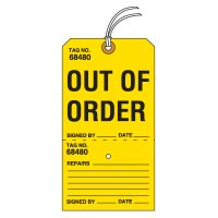 Tear-Off Jumbo Out Of Order Tags