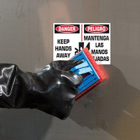 ToughWash® Labels - Danger Keep Hands Away (English/Spanish)