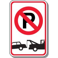 Tow Away Zone Signs - No Parking Symbol (With Graphic)