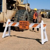 Barricade Sign - No Entry Blasting Zone