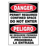 Ultra-Stick Signs - Danger Confined Space (Bilingual)