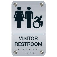 Visitor Restroom Signage with Braille Text - Dynamic Accessibility