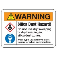 Warning Silica Dry Sweep Hazard Signs