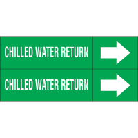 Weather-Code™ Self-Adhesive Outdoor Pipe Markers - Chilled Water Return