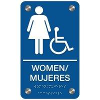 Women (Accessibility) - Bilingual Premium ADA Restroom Signs