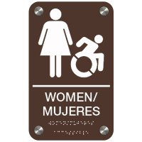 Women Bilingual (Dynamic Accessibility) - Premium ADA Restroom Signs