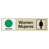 Women Vacant/Occupied - Bilingual Engraved Restroom Sliders