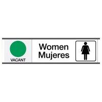 Women Vacant/Occupied - Bilingual Engraved Restroom Sliders