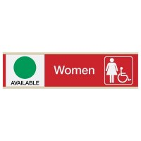 Women's Restroom Sign w/ Sliders - Available/In Use