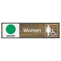 Women W/ Accessibility Vacant/Occupied - Engraved Restroom Sliders