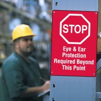 Workplace Safety Stop Sign - Eye & Ear Protection