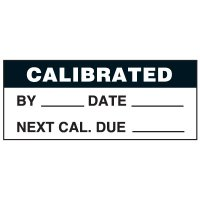 Write-On Status Roll Labels - Calibration by ___ Date ___ Next Cal Due ___
