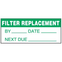 Write-On Status Roll Labels - Filter Replacement By ___ Date ___ Next Due ___
