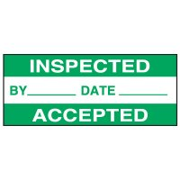 Write-On Status Roll Labels - Inspected By ___ Date ___ Accepted