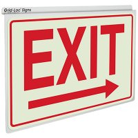 Exit w/ Right Arrow - Drop Ceiling Double-Faced Signs