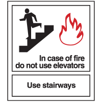In Case of Fire Do Not Use Elevators Sign - Polished Plastic