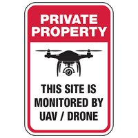 Private Property: Site is Monitored by Drone Sign