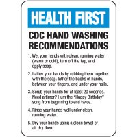 CDC Hand Wash Recommendations Sign