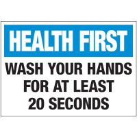 Wash Hands for 20 Seconds Label