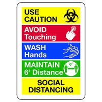 Use Caution - Social Distancing Signs