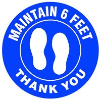 Floor Safety Signs - Maintain 6 Feet - Blue