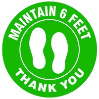 Floor Safety Signs - Maintain 6 Feet - Green
