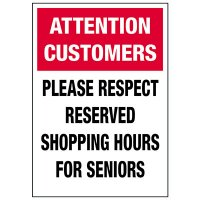 Please Respect Senior Shopping Hours Label