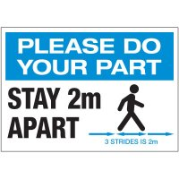 Stay 2M Apart 3 Strides Landscape Label