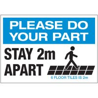 Stay 2M Apart Floor Tiles Landscape Label