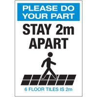 Stay 2M Apart Floor Tiles Portrait Decal