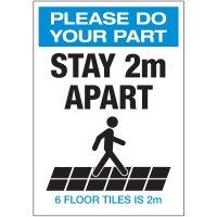 Stay 2M Apart Floor Tiles Portrait Label